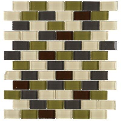Geneva 1 x 2 Glass Brick Joint Mosaic Field Tile in Autumn Trail