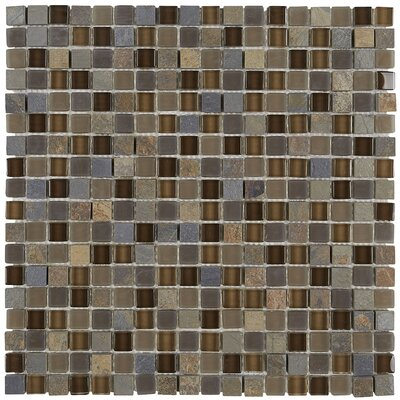 Pelham 5/8 x 5/8 Glass and Metal Mosaic Field Tile in Saddle