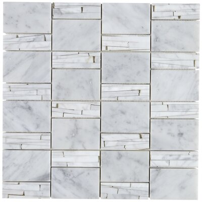 Polished Abstract 2 x 2 Marble Mosaic Tile in Carrara White