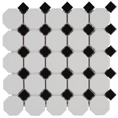 Osmond 2 x 2 Ceramic Mosaic Tile in Glazed Matte White with Black Gloss Dot