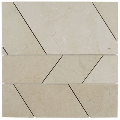 Harrison Modern 12 x 12 Polished Natural Stone Field Tile in Crema Marfil Classico