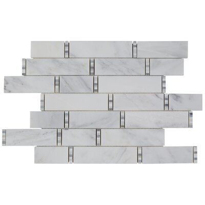 11.5 x 18 Marble Mosaic Tile in First Snow Elegance