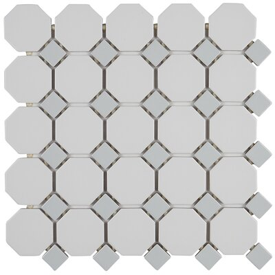 Osmond 2 x 2 Ceramic Mosaic Tile in Glazed Matte White with Gray Gloss Dot