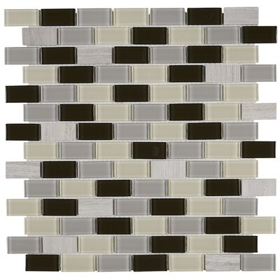 Gibson 0.75 x 1.5 FNatural Stone and Glass Mosaic Tile in Evening Sky
