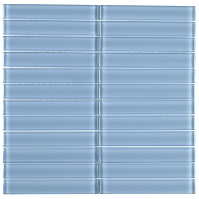 Geneva Straight-Joint 1 x 6 Glass Mosaic Tile in Blue Lagoon