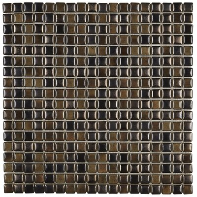 Morrison 0.63 x 0.63 Glass Mosaic Tile in Umber
