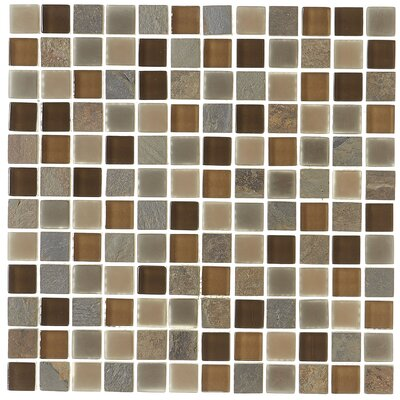 Pelham 1 x 1 Glass and Metal Mosaic Field Tile in Saddle