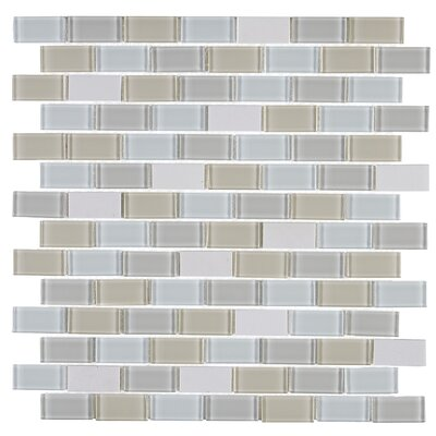 Gibson 0.75 x 1.5 Natural Stone and Glass Mosaic Tile in Oasis