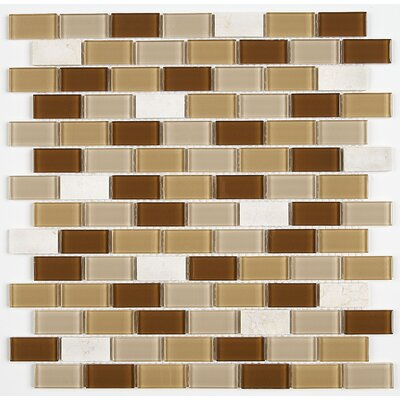 Gibson 0.75 x 1.5 Natural Stone and Glass Mosaic Tile in Caramelo