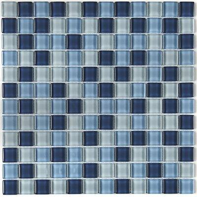 Geneva 1 x 1 Mosaic Field Tile in Winter Blues