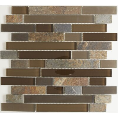Pelham 1 x Random Sized Glass and Metal Mosaic Field Tile in Saddle
