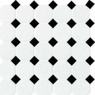 Octagon and Dot 2 x 2 Ceramic Mosaic Tile in Glazed Matte White with Black Gloss Dot