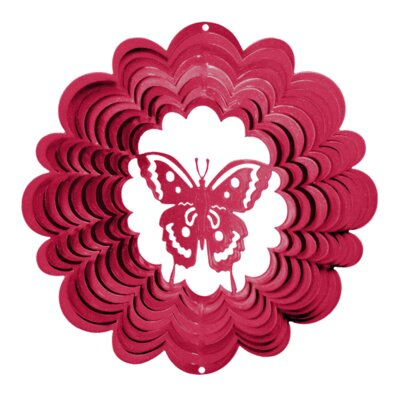 Classic Butterfly Wind Spinner Size: Large, Color: Pink
