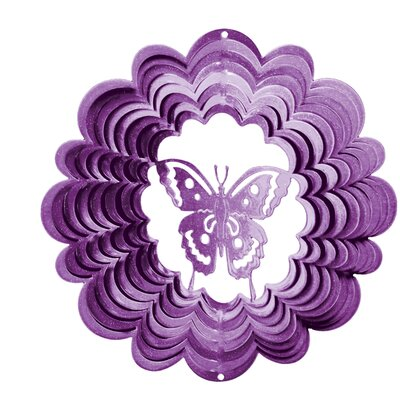 Classic Butterfly Wind Spinner Size: Large, Color: Purple