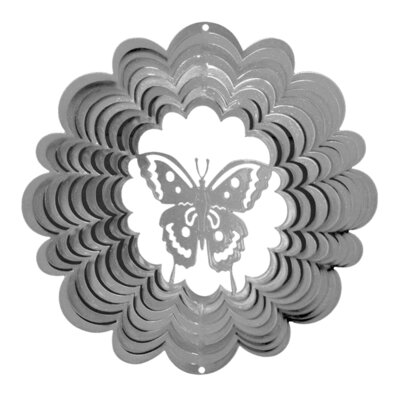 Classic Butterfly Wind Spinner Size: Large, Color: Silver