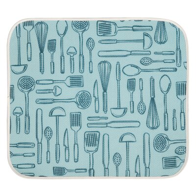 Kitchen Mat Color: Aqua Blue / Ivory