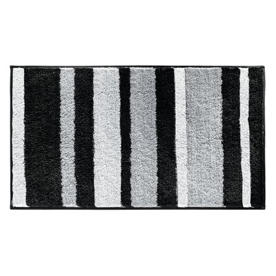 Killian Microfiber Stripes Shower Accent Bath Rug Size: 0.6 H x 34 W x 21 D, Color: Black/Gray