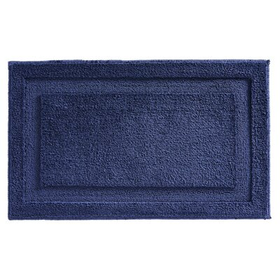 Microfiber Leaves Shower Accent Bath Rug Color: Navy