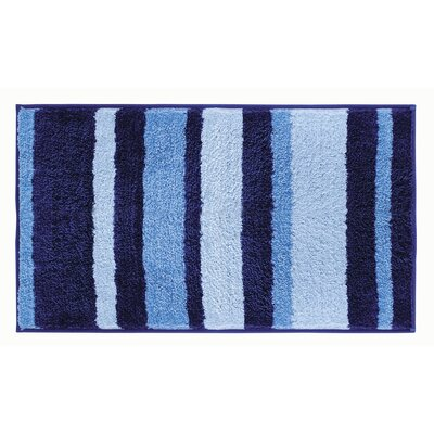 Killian Microfiber Stripes Shower Accent Bath Rug Size: 0.6 H x 34 W x 21 D, Color: Navy/Light