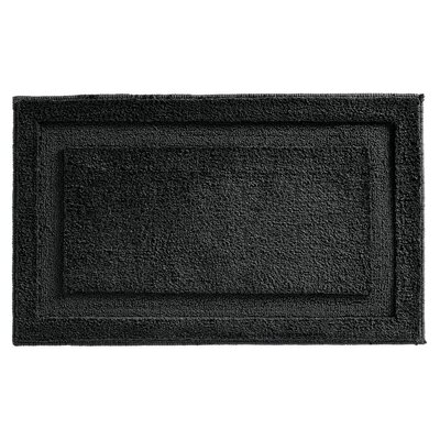 Microfiber Leaves Shower Accent Bath Rug Color: Black