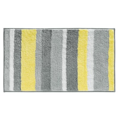 Killian Microfiber Stripes Shower Accent Bath Rug Size: 0.6 H x 34 W x 21 D, Color: Gray/Yellow