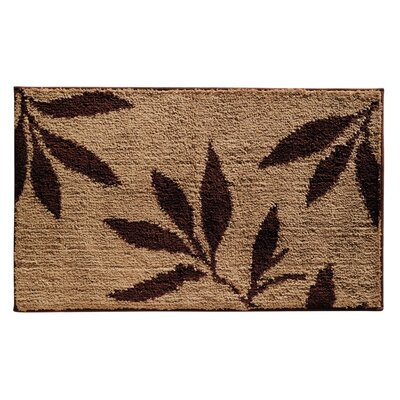 Microfiber Leaves Shower Accent Bath Rug Color: Brown/Tan