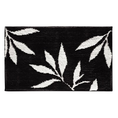 Microfiber Leaves Shower Accent Bath Rug Color: Black/White