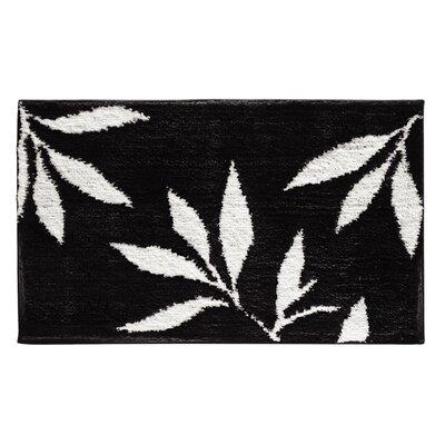 Microfiber Leaves Shower Accent Bath Rug Color: Black/White