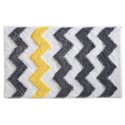 Chevron Bath Rug Color: Light Gray/Coral