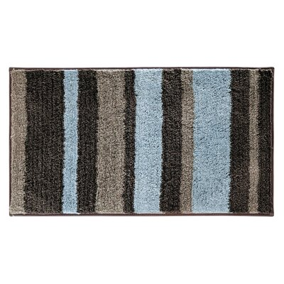 Rain Microfiber Stripes Shower Accent Bath Rug Size: 0.6 H x 34 W x 21 D, Color: Mocha/Gray