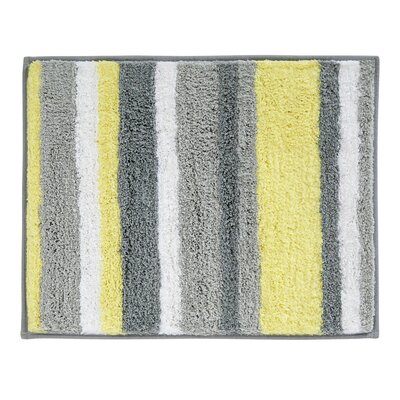 Rain Microfiber Stripes Shower Accent Bath Rug Size: 0.3 H x 21 W x 17 D, Color: Gray/Yellow