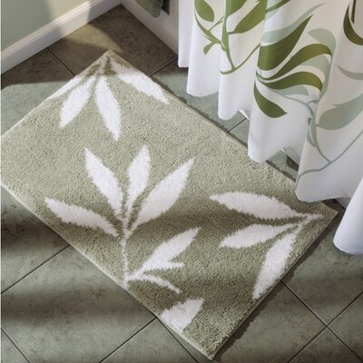 Microfiber Leaves Shower Accent Bath Rug Color: Green/White