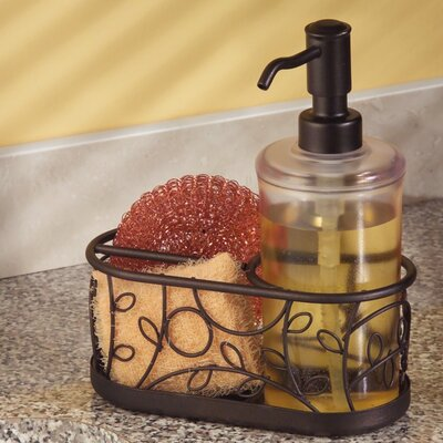 Housman Kitchen Countertop Soap Dispenser Pump, Sponge and Scrubby Caddy Organizer
