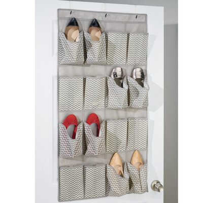 Chevron 16-Pocket Overdoor Shoe Organizer