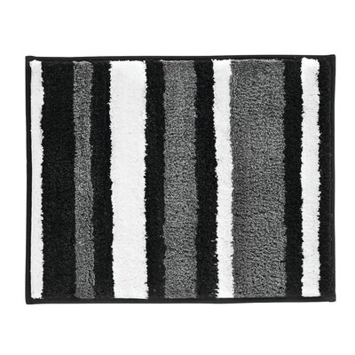 Stripz Bath Rug Color: Black/Gray