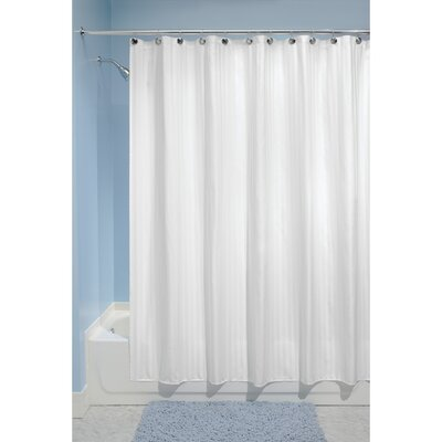 Satin Stripe Shower Curtain Color: White