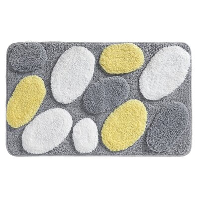 Pebblz Bath Rug Color: Yellow/Gray