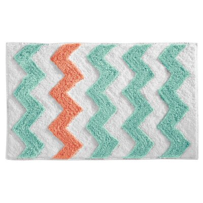 Chevron Bath Rug Color: Aruba/Coral