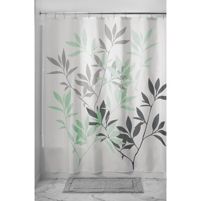 Leaves Shower Curtain Color: Gray/Mint