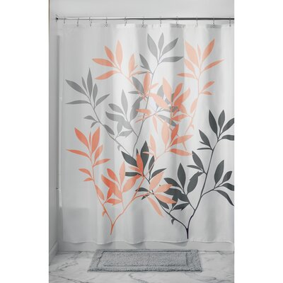 Leaves Shower Curtain Color: Gray/Coral