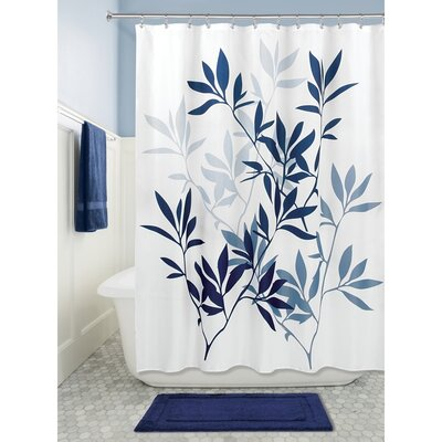 Leaves Shower Curtain Color: Navy/Slate Blue