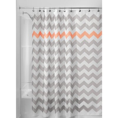 Chevron Shower Curtain Color: Gray/Coral
