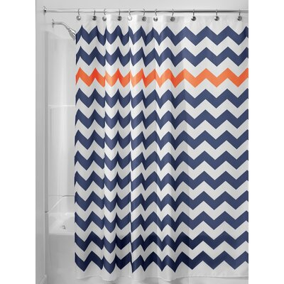 Chevron Shower Curtain Color: Navy/Burnt Orange