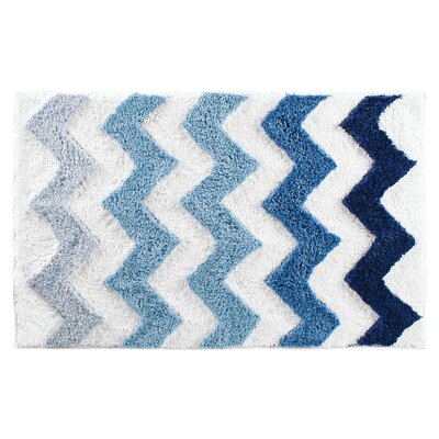 Chevron Bath Rug Color: Blue