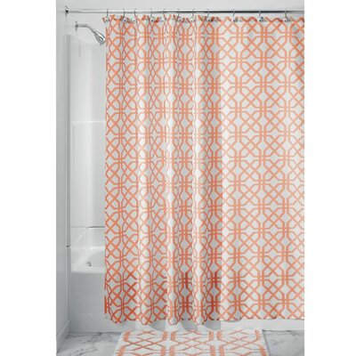 Trellis Shower Curtain Color: Coral