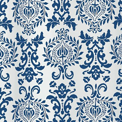 Damask Shower Curtain Color: Navy
