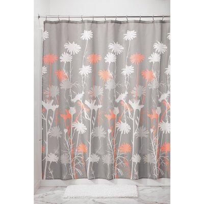 Daizy Shower Curtain Color: Gray/Coral