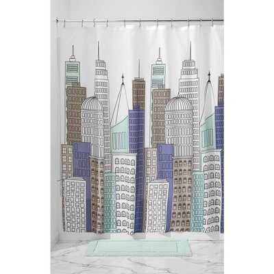 Skyline Shower Curtain Color: Blue