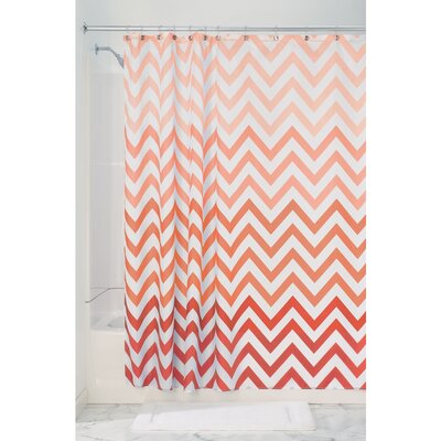 Ombre Chevron Shower Curtain Color: Coral