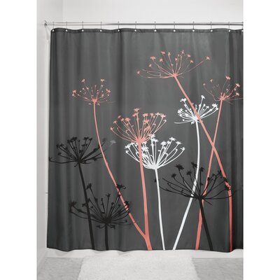 Thistle Shower Curtain Color: Gray/Coral